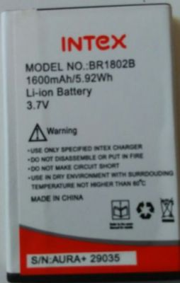 Buy Replacement Br 1802 B Battery For Intex Aura 1600mah/5.92wh online