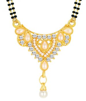 Buy Shostopper Traditional Gold Plated Australian Diamond Mangalsutra Pendant online