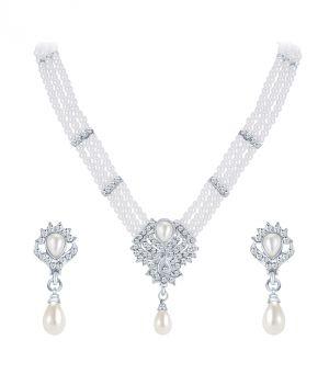 Buy Shostopper Wavy Rhodium Plated Australian Diamond Necklace Set online