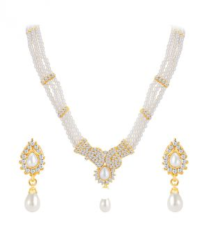 Buy Shostopper Ethnic Gold Plated Australian Diamond Necklace Set online