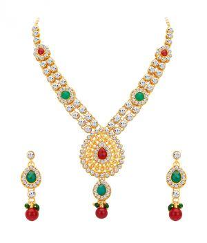 Buy Shostopper Royal Gold Plated Australian Diamond Necklace Set online