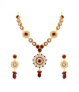 Buy Shostopper Designer Gold Plated Australian Diamond Necklace Set online