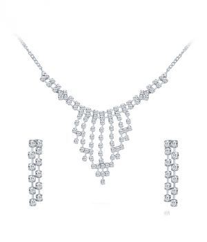 Buy Shostopper Glistening Rhodium Plated Australian Diamond Necklace Set online