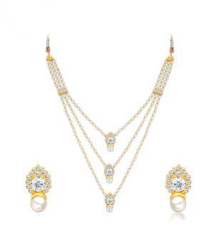 Buy Shostopper Alluring Gold Plated Australian Diamond Necklace Set online