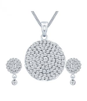 Buy Shostopper Marvellous Rhodium Plated Australian Diamond Pendant Set online