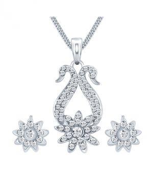Buy Shostopper Dazzling Rhodium Plated Australian Diamond Pendant Set online
