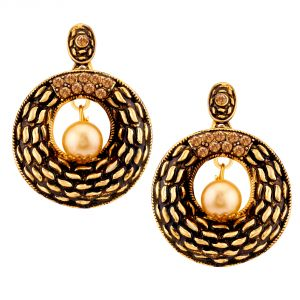 Buy Shostopper Black/golden Alloy Danglers & Drop Earring For Women Sj6085en online