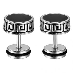 Buy Men Style Crystal 8mm Barbell Dumbbell Silver and Black Stainless Steel Dumbell Stud Earring For Men and Boys online