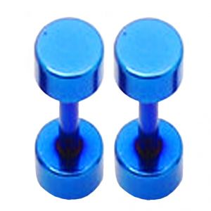 Buy Men Style 8mm Barbell Dumbbell Blue Stainless Steel Dumbell Stud Earring For Men and Boys online