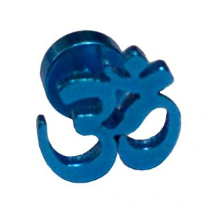 Buy Men Style Om Blue Stainless Steel Piercing Single Stud Earring For Men And Boys online