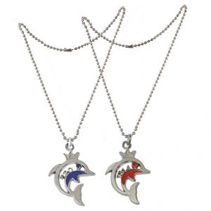 Buy Men Style Stylish Elegant Colorful Small Fish pendant Silver, Red and Blue Stainless Steel Fish Pendant online