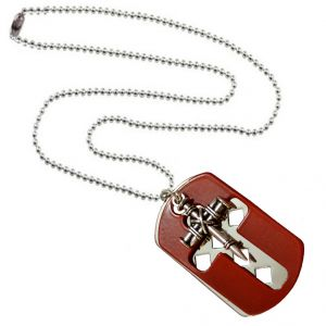 Buy Men Style Jesus Cross Silver And Red Stainless Steel Square Necklace Pendant For Men And Women online
