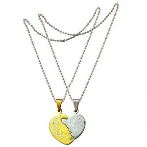 Buy Men Style Crystal Couples Special Best Gift Silver And Gold Stainless Steel Heart Necklace Pendant For Men And Women (product Code -spn001057) online
