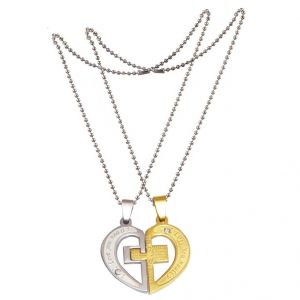 042538fa74 Buy Men Style Love His and Hers Couples Gift Heart Jesus Cross Prayer  Splice Couple Stainless