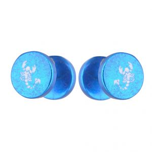 Buy Men Style Scorpio Pattern Barbell Dumbbell Ear Plugs?? Blue Stainless Steel Surgical Stud Earring For Men And Women online