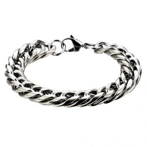 Buy Men Style Top Quality Link Chain Silver Stainless Steel Round Bracelet For Men And Boys online