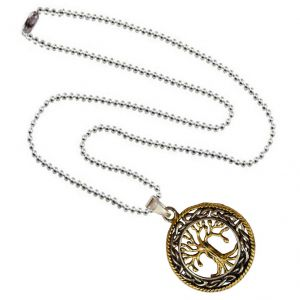 Buy Men Style Two Tone Vintage Lucky Silver Tree Life Necklace Hollow Circle Silver and Gold Zinc Alloy Cross Necklace Pendant online