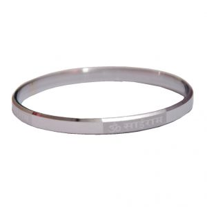 Buy Men Style Om Sairam 2/12 (6.9 cm or 2.75 inch ) Silver Stainless Steel Round Kada For Men And Women online