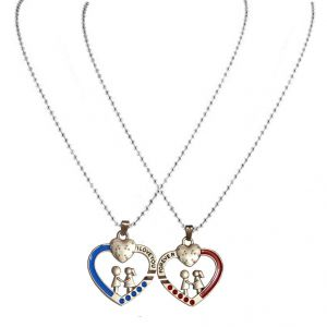 Buy Men Style Romantic Couple With Dual Chain Red And Blue Zinc Alloy Heart Shape Pendent online