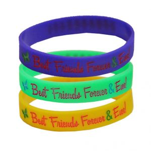 Buy Men Style 3 Colorful Best Friend Forever And Ever Silicon Rubber Wristbrand Combo Round Bracelet online