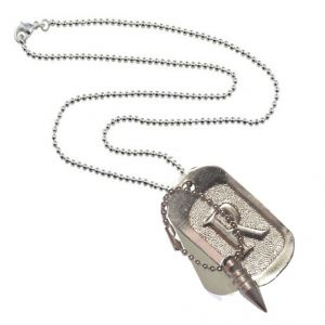 Buy Men Style Bullet And R Alphabet Square Silver Alloy Square Pendent For Men And Women online