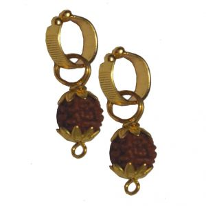 Buy Men Style 2016 Big Gold Plated Rudraksha Bali Gold Wood Non piercing Clip on Earring For Men And Boy online