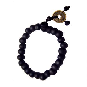 Buy Men Style Black Feng Shui Coin With Tibetan Buddha Prayer Bracelet online