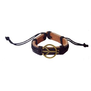 Buy Men Style Black Tibetan Gold Peace Sign Bracelet online