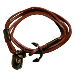 Men Style New Design  Brown  Leather Anchor Bracelet For Men And Boy