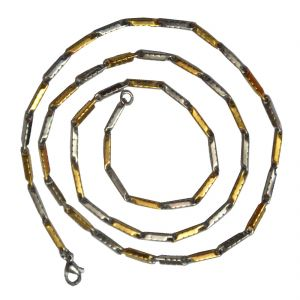 Men Style Plated Classic Design Pattern Dual Tone Gold And Silver Stainless Steel Reactangle Link Chain
