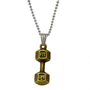 Buy Men Style Bodybuilding Barbell Dumbbell Charm Gold Alloy Gym Jewelry Necklace Pendent For Men And Women Spn011014 online