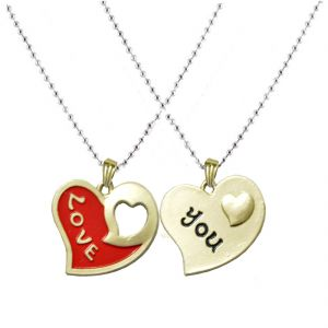 Buy Men Style New Design Couple Love You Red & Black Alloy Heart Pendent For Men And Women online