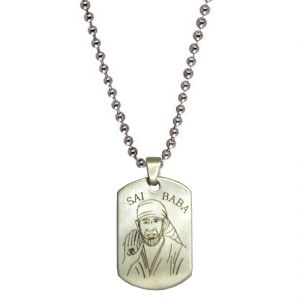 Buy Men Style Shirdi Sai Baba Plated Silver Stainless Steel Sqaure Pendent For Men Spn04011 online