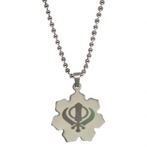 Buy Men Style Khanda Silver 304l Stainless Steel Pendent For Men Spn05012 online