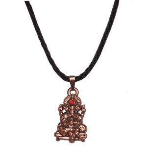 Buy Men Style Crystal Shri Ganesh With Cotton Dori Chain Brown Alloy 00 Pendent For Men And Women Spn05074 online