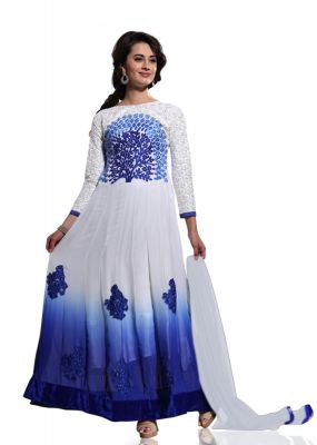 Buy Stylish Fashion White And Blue Embroidered Anarkali Suit Sfvipulbl-1004 online