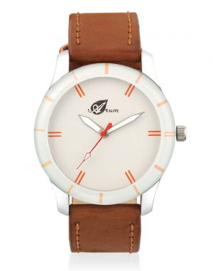 Buy Arum Analog White Dial With Brown Strap Men's Watch online