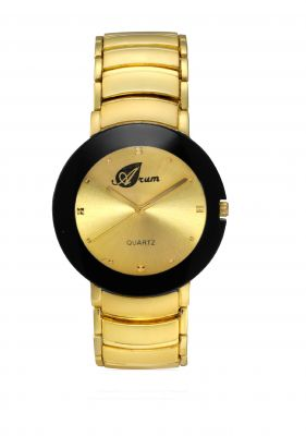 Buy Arum Latest Designer Men's Goldden Strap In Black Watch online