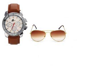 Buy Arum Brown Watch &sunglass Combo online