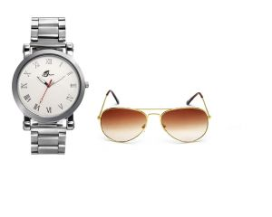 Buy Arum Combo Of Silver Watch & Brown Sunglass online