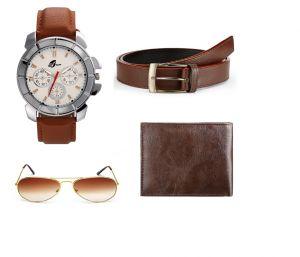 Buy Arum Special Brown Watch,wallet &sunglass With Belt online