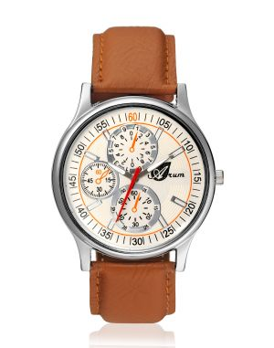 Buy Arum Latest Design In Brown Leather Watch online