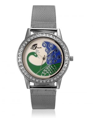 Buy Arum Silver Peacock Watch online