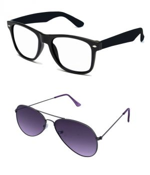 Buy Blue-tuff Mens Wayfarer Aviator Sunglass Combo-black-clear/purple online