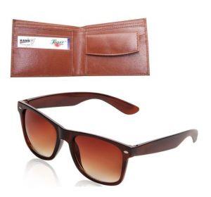 Buy Men''s Executive Wallet With Wayfarer Sunglass - Brown online