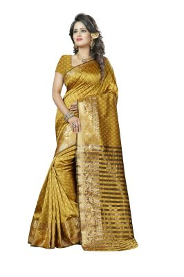 Buy See More Self Design Mustard And Golden Colourwoven Work Art Silk Saree With Unstitched Blouse Piece online