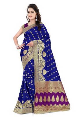 Buy See More Self Design Purple And Blue Color Banarasi Silk Saree Apex 107b Bluepurple online