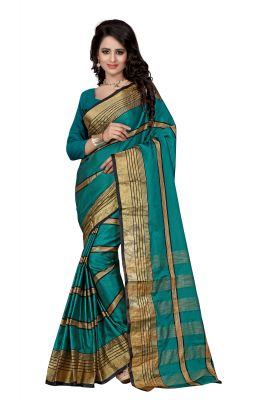 Buy See More Self Designer Rama Colour Cotton Saree With Blouse For Women Aura Beauty Rama online