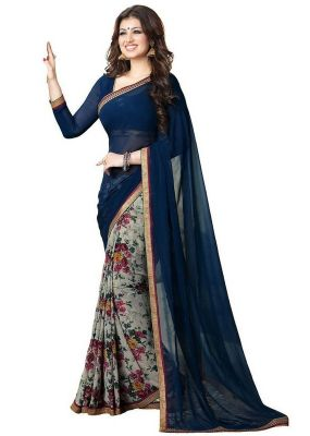 Buy See More Blue And White Georgette Half Half Saree online