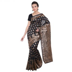 Buy See More Black Art Silk Banarasi Saree online